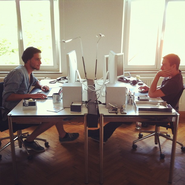 Daniel and Timo working on a cool motion design project. #officetour