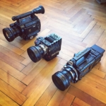 Size comparison. Sony F3 vs Red Epic vs Sony F55 w/ raw module and V-Mount. Guess which camera loses the weight comparison? Hint: The smallest one is heavier than the F55! ;-)